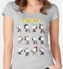 Snoopy Doctors Collage Women's Fitted Scoop T-Shirt