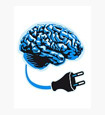 power plug connector think brain electronically clever electro funny cyborg Photographic Print