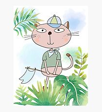 Cute Cartoon Animals Hiking Safari Cat Photographic Print