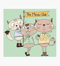 Cute Cartoon Animals Funny Cats Meow Club Photographic Print