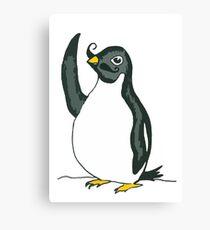 Penguin Waving with Moustache Canvas Print
