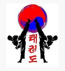 Taekwondo Abzeichen schwarz High Kick koreanische Kampfkunst Kick und Punsch Fotodruck