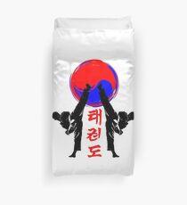 taekwondo badge black high kick korean martial art kick and punch Duvet Cover