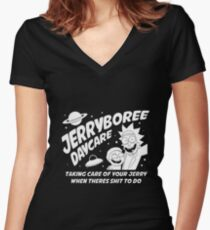 Rick and Morty Inspired Jerryboree Women's Fitted V-Neck T-Shirt