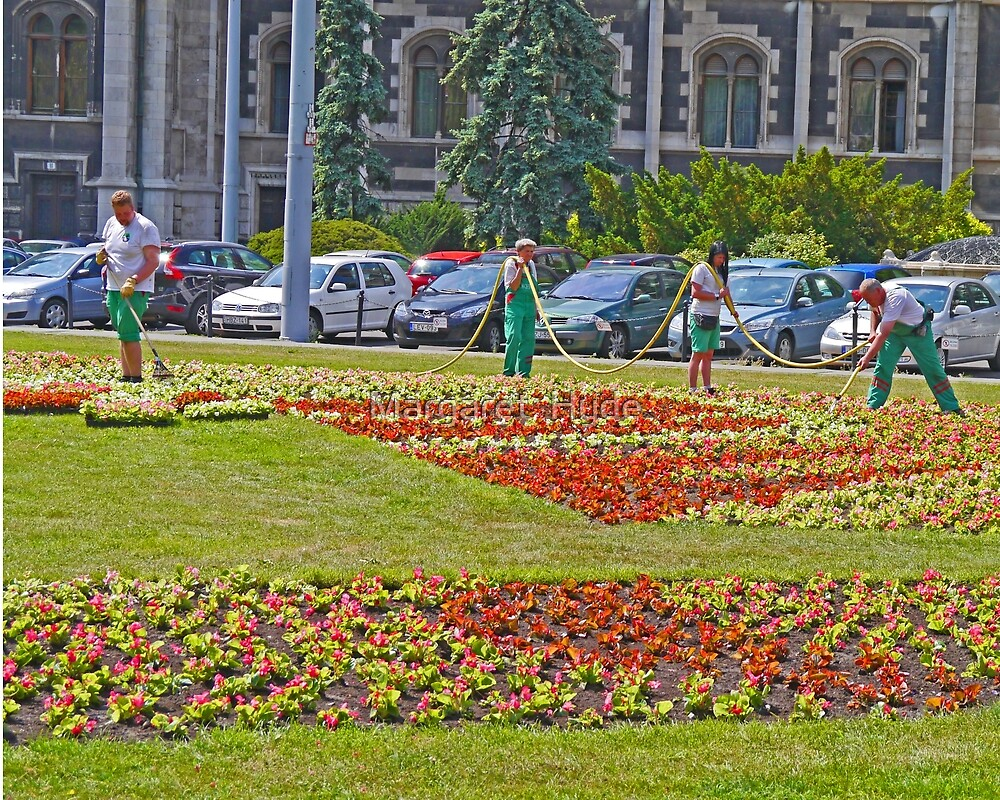The gardeners, Parliament House, Budapest by Margaret  Hyde
