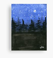 Moonlight at the Forest. Original Watercolor Painting Art Print from Watercolor Painting Fine Art Print Watercolor Wall Art Canvas Print