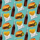 Burger Fries & Soda Pattern by Kelly  Gilleran
