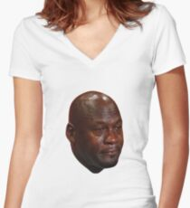 Crying Michael Jordan  Women's Fitted V-Neck T-Shirt