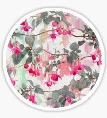 Rainbow Fuchsia Floral Pattern - with grey Sticker