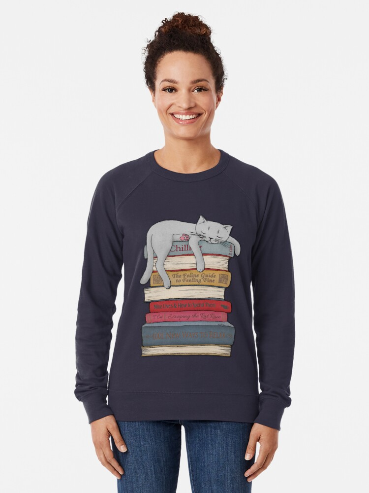 Alternate view of How to Chill Like a Cat Lightweight Sweatshirt