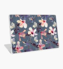 Butterflies and Hibiscus Flowers - a painted pattern Laptop Skin
