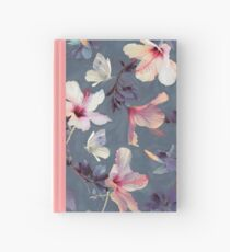 Butterflies and Hibiscus Flowers - a painted pattern Hardcover Journal