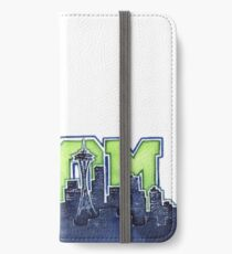 Seattle Skyline 12th Man Legion of Boom Painting iPhone Wallet