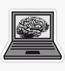 computer laptop notebook pc write thinking screen mobile tablet brain Sticker