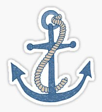 Hand drawn scribbly blue anchor with rope Sticker