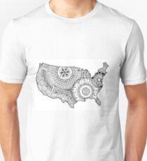 Zentangle USA map Black and White Unisex T-Shirt