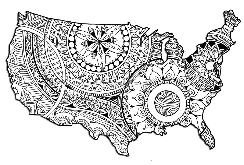 Zentangle USA Map Black And White Stickers By PrajaktaP Redbubble - Usa map black
