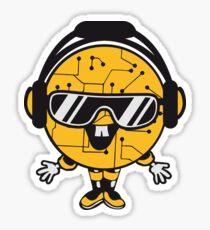 comic cartoon cyborg robot electric lines man male figure cute sweet music party sunglasses headphones dj club disco Sticker