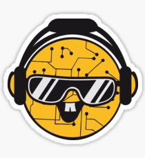 comic cartoon cyborg robot electric lines face head round circle cute sweet music party sunglasses headphones dj club disco Sticker