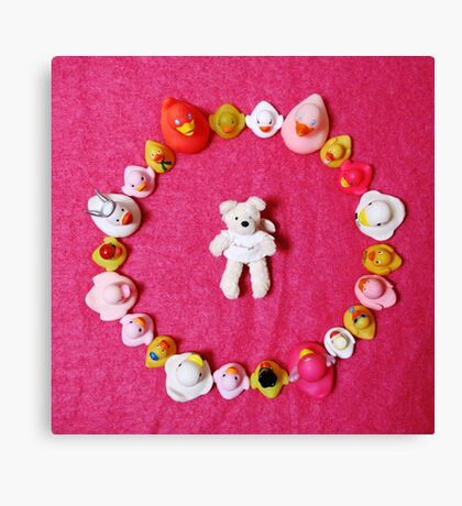 Angel Bear in Duck Blessing Circle, from above Canvas Print