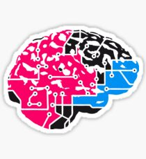 colorful cyborg brain machine computer science fiction microchip intelligence brain design cool robot black Sticker
