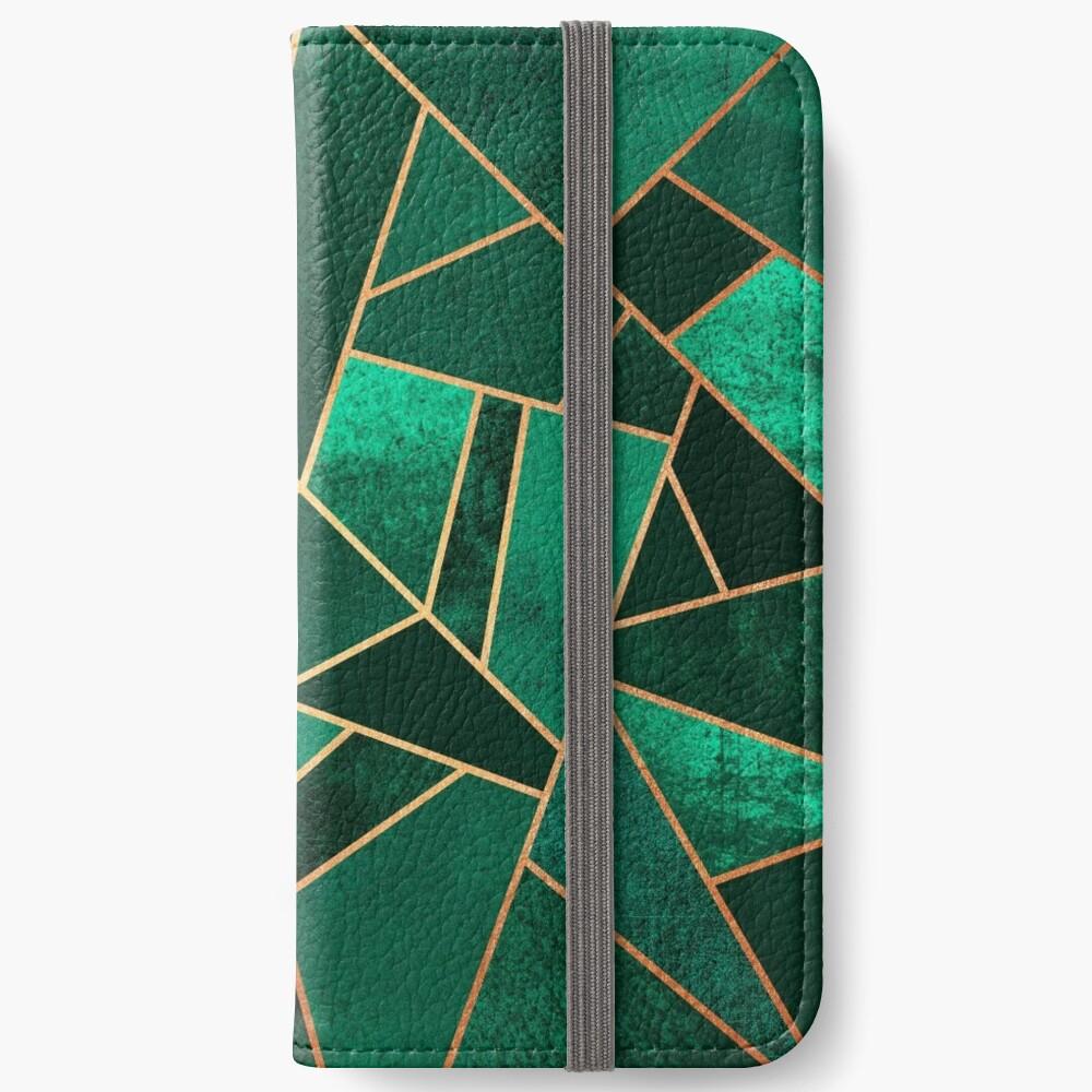 Smaragd und Kupfer iPhone Flip-Case