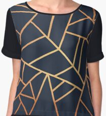 Copper and Midnight Navy Chiffon Top