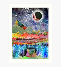 Camping under the moon Art Print