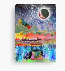 Camping under the moon Metal Print