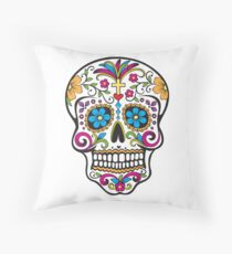 skull white Throw Pillow