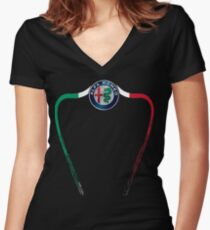 Alfa of Birmingham Tricolore Women's Fitted V-Neck T-Shirt