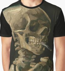 Skull of a Skeleton with Burning Cigarette Graphic T-Shirt