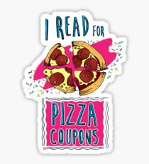 I Read for Pizza Coupons Sticker