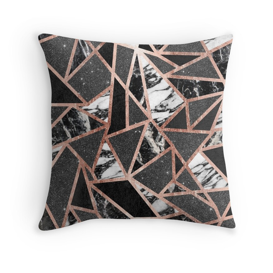 Quot Modern Rose Gold Glitter Marble Geometric Triangle Quot Throw