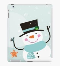 Happy winter Snowman holding christmas Star iPad Case/Skin