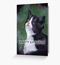 Crazy Cat Lady, Painting of Cat Looking Up Greeting Card