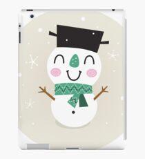 Vintage Snowman on snowing background iPad Case/Skin
