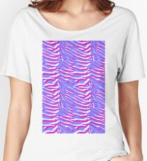 Tiger Stripes Pink and Purple Women's Relaxed Fit T-Shirt