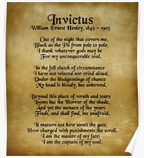 Invictus, Ernst Henley poem on parchment Poster
