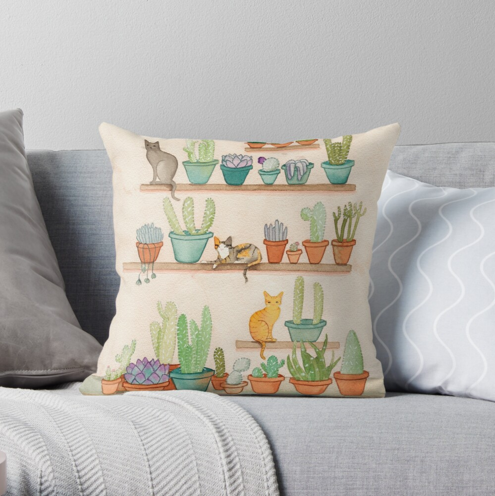 Cats and Cacti Throw Pillow