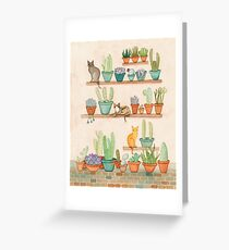 Tarjeta de felicitación Gatos y Cactus