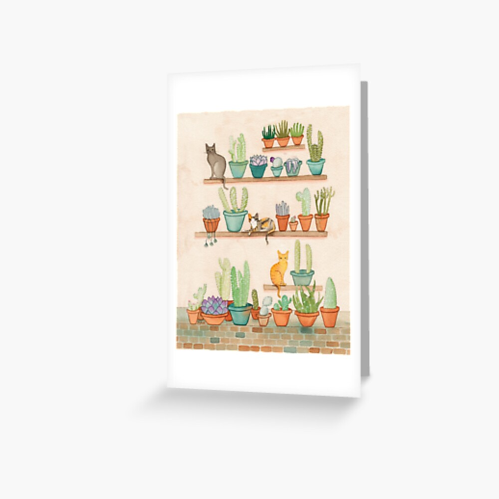 Cats and Cacti Greeting Card