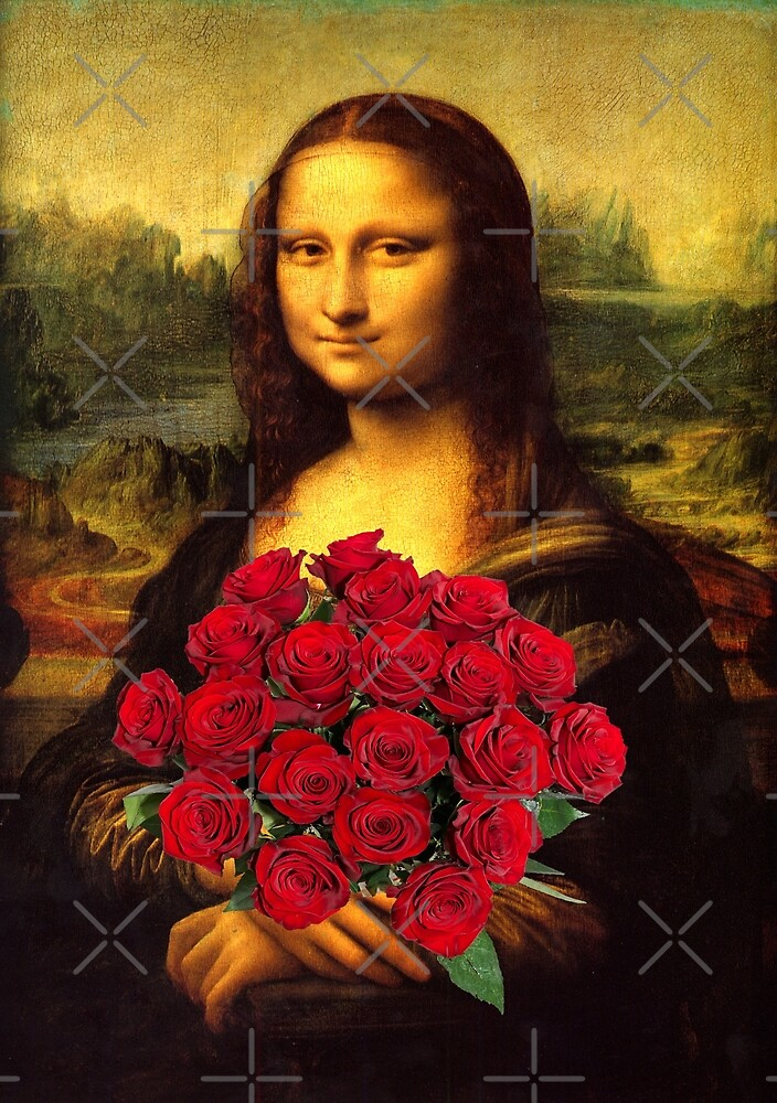 Mona Lisa Loves Red Roses by Mythos57