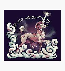 Am Actual Unicorn-Red Photographic Print