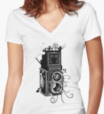 Retro Rolleiflex - Evolution of Photography - Vintage Women's Fitted V-Neck T-Shirt