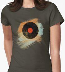 Vinyl Record Retro T-Shirt - Vinyl Records Modern Grunge Design Women's Fitted T-Shirt