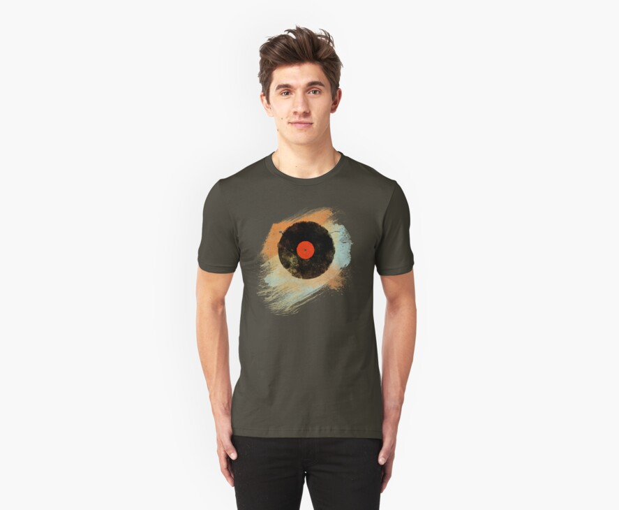 Vinyl Record Retro T-Shirt - Vinyl Records Modern Grunge Design by Denis Marsili