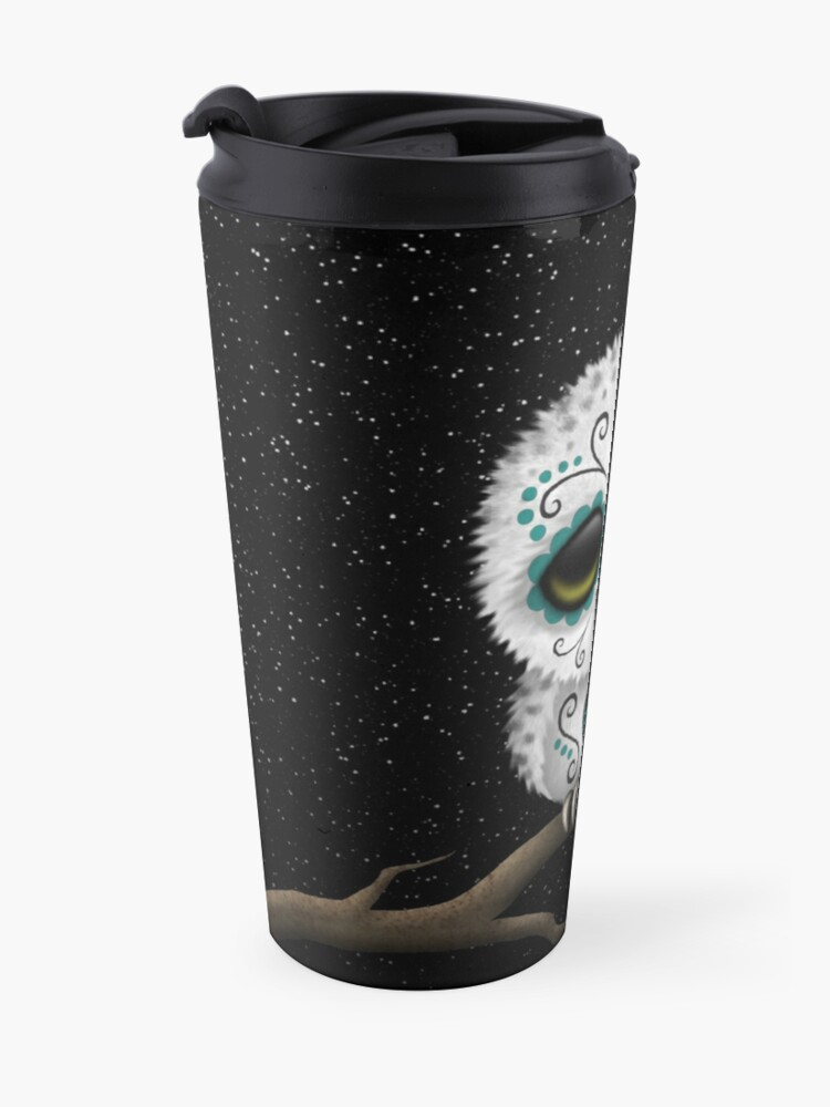 Alternate view of Cute Teal Blue Day of the Dead Sugar Skull Owl Travel Mug