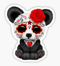 Red Day of the Dead Sugar Skull Panda on Yellow Sticker