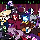 Skull People Cave Party by shebifer